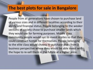 The best plots for sale in Bangalore