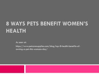 Health Benefits Of Pets For Women