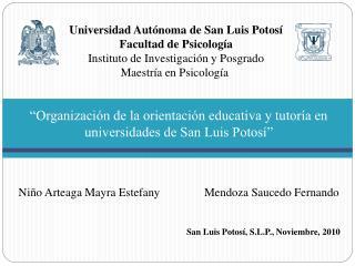 Organizaci n de la orientaci n educativa y tutor a en universidades de San Luis Potos      Ni o Arteaga Mayra Estefany