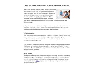 Take the Reins - Don't Leave Training up to Your Channels