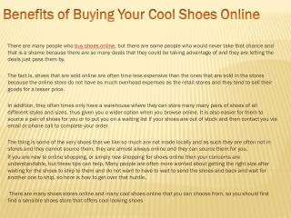 Benefits of Buying Your Cool Shoes Online