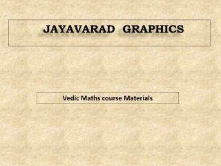 Vedic Maths course Materials