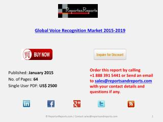 Voice Recognition Market 2019 Forecast for Global Regions