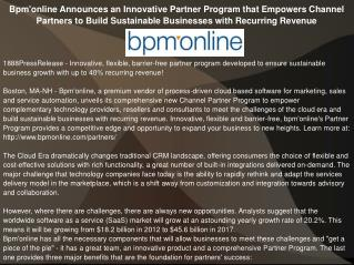 Bpm'online Announces an Innovative Partner Program