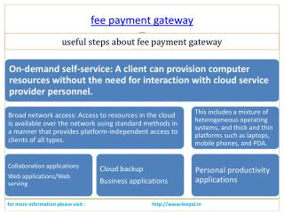 Mode of organizing transactions of fee payment gateway