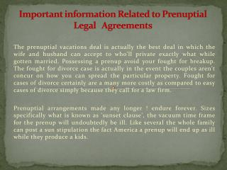 Important information Related to Prenuptial Legal   Agreemen