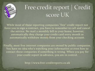 Free credit report http://www.free-creditreports.co.uk | UK