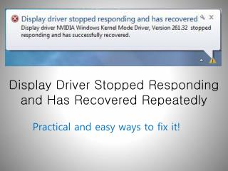 Display Drivers Stopped Responding and Has Recovered