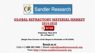 World Refractory Material Market 2018 Analysis & Forecasts R