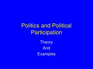 Politics and Political Participation