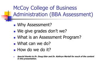 McCoy College of Business Administration BBA Assessment