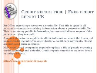 Credit report free Score