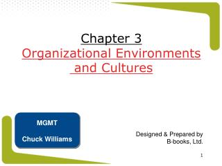 Chapter 3 Organizational Environments  and Cultures