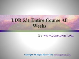 LDR 531 Entire Course All Weeks