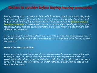 Factors to consider before buying hearing accessories