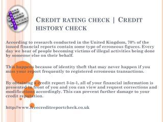 Credit history check Free