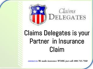 Claims Delegates is your Partner  in Insurance Claim