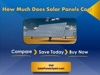 How Much Money Do Solar Panels Cost