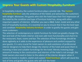 Impress Your Guests with Custom Hospitality Furniture