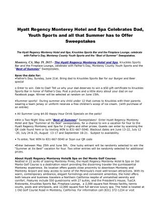 Hyatt Regency Monterey Hotel and Spa Celebrates Dad