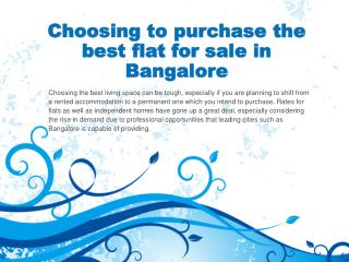 Choosing to purchase the best flat for sale in Bangalore