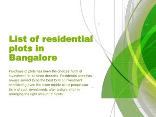 List of residential plots in Bangalore