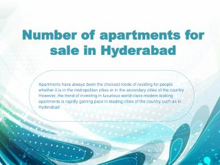 Number of apartments for sale in Hyderabad