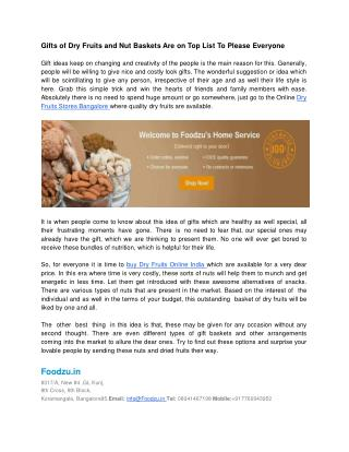 Foodzu Online Dry Fruits Store, Gourmet Food Online India
