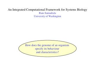 An Integrated Computational Framework for Systems Biology Ram Samudrala University of Washington