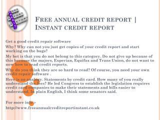 Free annual credit report UK