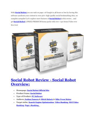 Social Robot Review and (FREE) Social Robot $24,700 Bonus