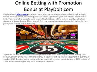Online Betting with Promotion Bonus at PlayDoit.com