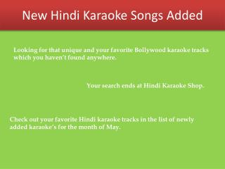 Bollywood Karaoke Tracks Uploaded in Month of May