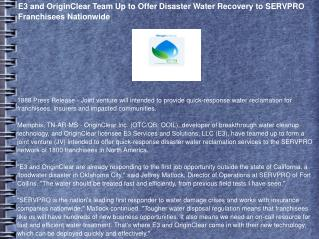 E3 and OriginClear Team Up to Offer Disaster Water Recovery