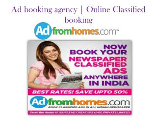 Ad booking agency | Online newspaper classified ad booking