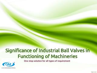 Significance of Industrial Ball Valves in Functioning of Mac