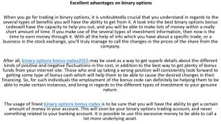 Binary options bonus codes 2015