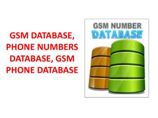 GSM DATABASE, PHONE NUMBERS DATABASE, GSM PHONE DATABASE