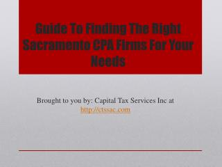 Guide To Finding The Right Sacramento CPA Firms