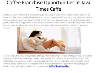 Coffee Franchise Opportunities at Java Times Caffe