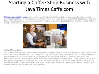 Starting a Coffee Shop Business with Java Times Caffe.com