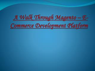A Walk Through Magento – E-Commerce Development Platform