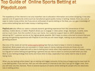 Top Guide of  Online Sports Betting at Playdoit.com