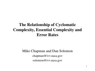 The Relationship of Cyclomatic Complexity, Essential Complexity and Error Rates