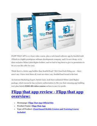 Flipp That App Review and (FREE) Flipp That App $24,700 Bonu