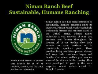 Niman Ranch Beef Sustainable, Humane Ranching