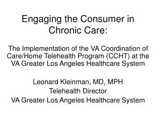 Engaging the Consumer in Chronic Care: