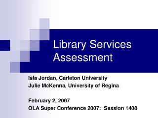 Library Services Assessment