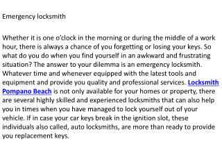 Pompano Beach locksmith