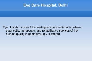 Eye Treatment in India - Price Eye Surgery Delhi India